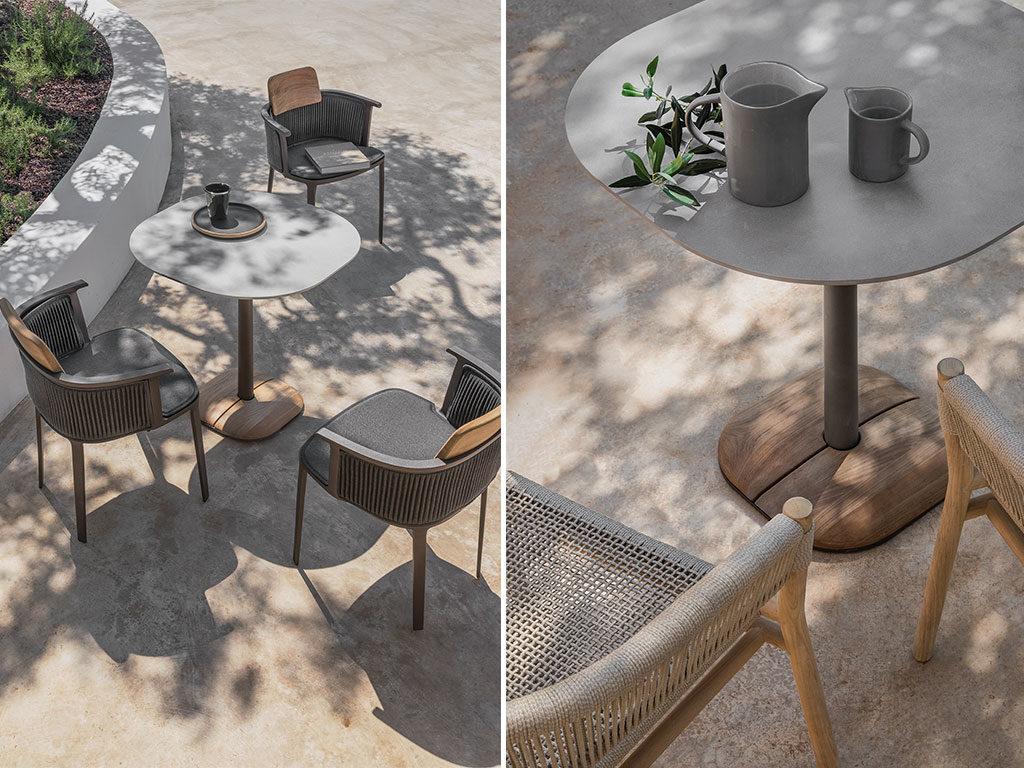 tavolini esterno acciaio legno ceramica