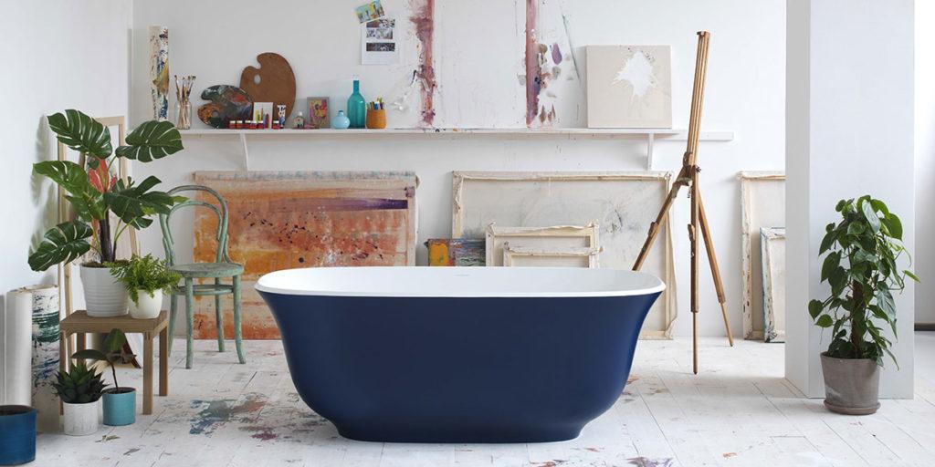 vasca da bagno freestanding blu