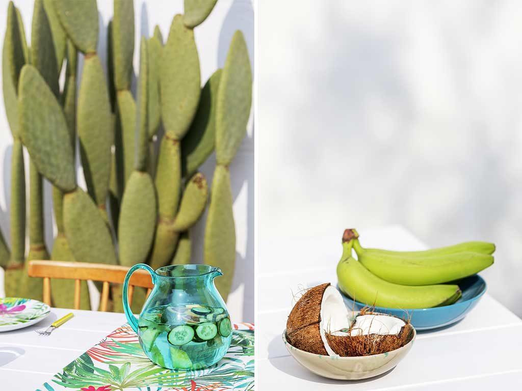 caraffa e ciotole ceramica frutta