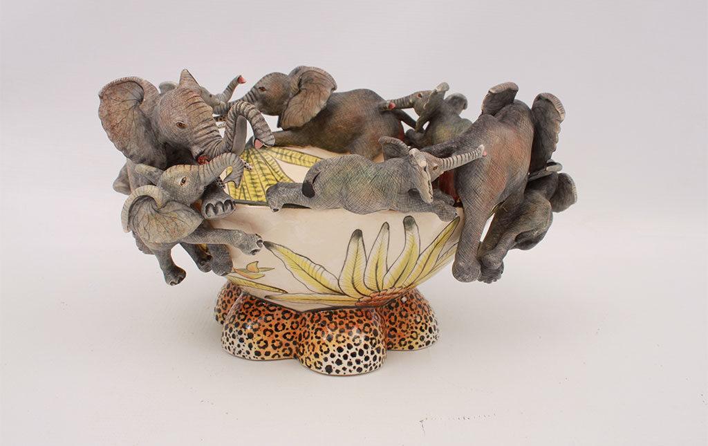 ciotola ceramica elefanti