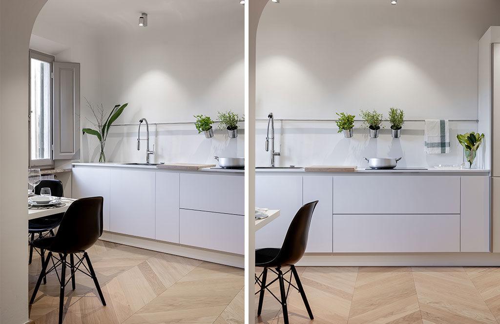 cucina a vista bianca