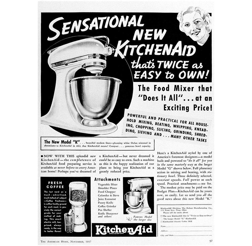 pubblicita 1937 kitchen aid robot