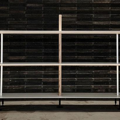 libreria design legno frassino e metallo