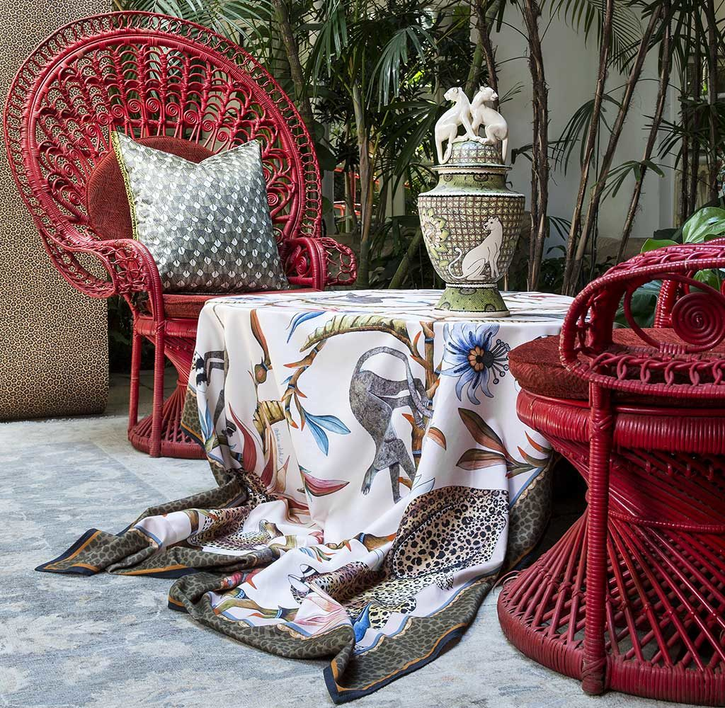 tessili e cuscini seta decoro animali