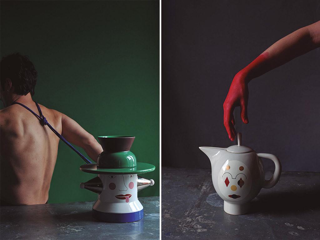 vaso e teiera ceramica colore