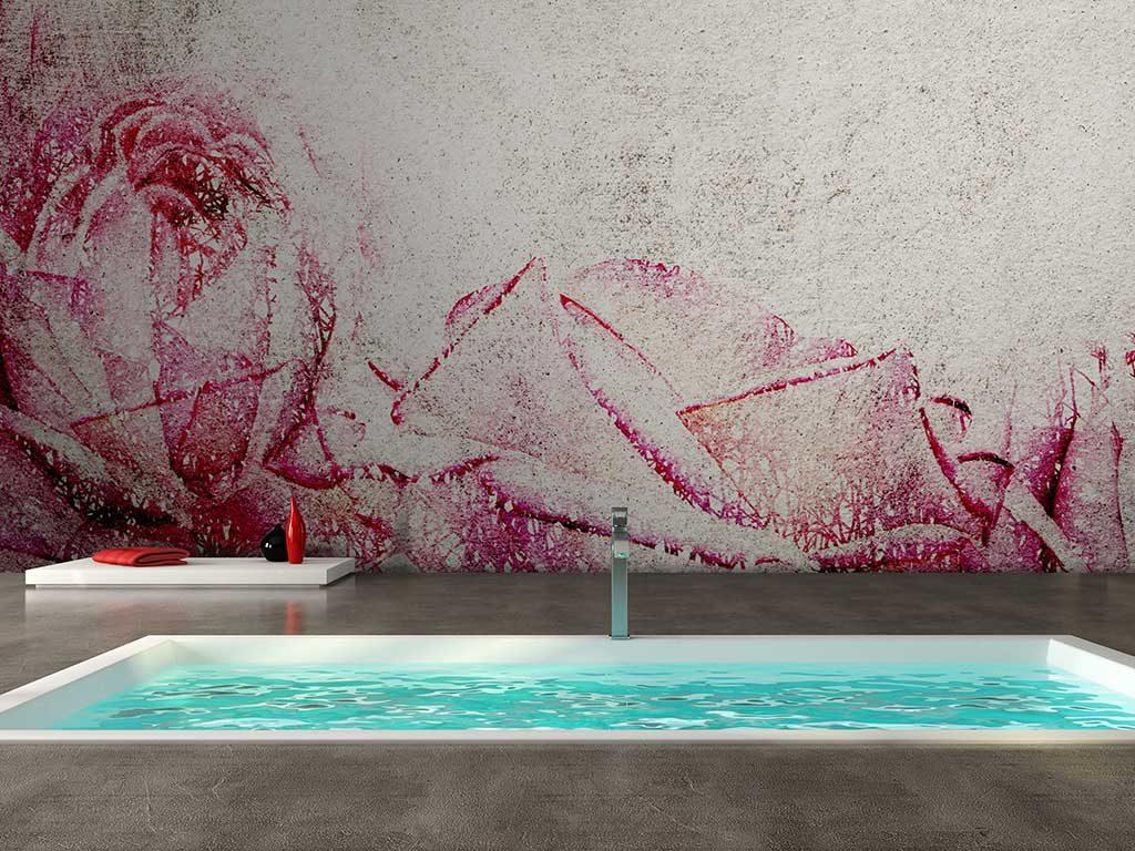 carta parati bagno colore rosa sfumato