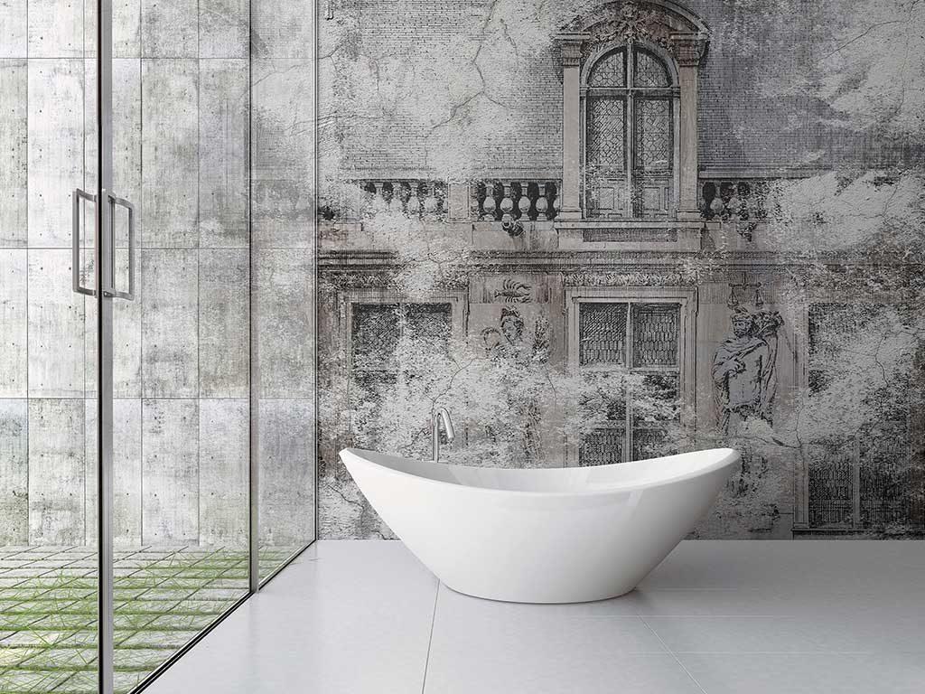 carta parati bagno disegno architettura