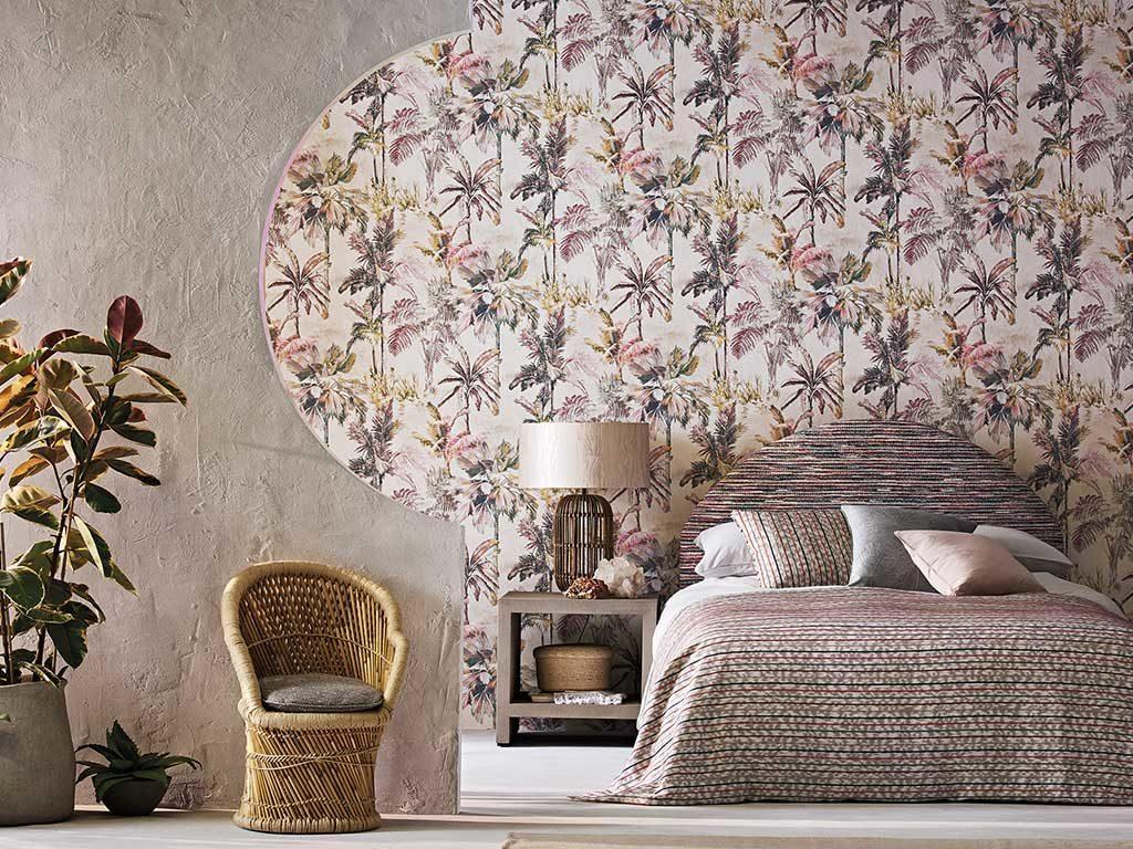 carta parati camera letto tropicale disegno