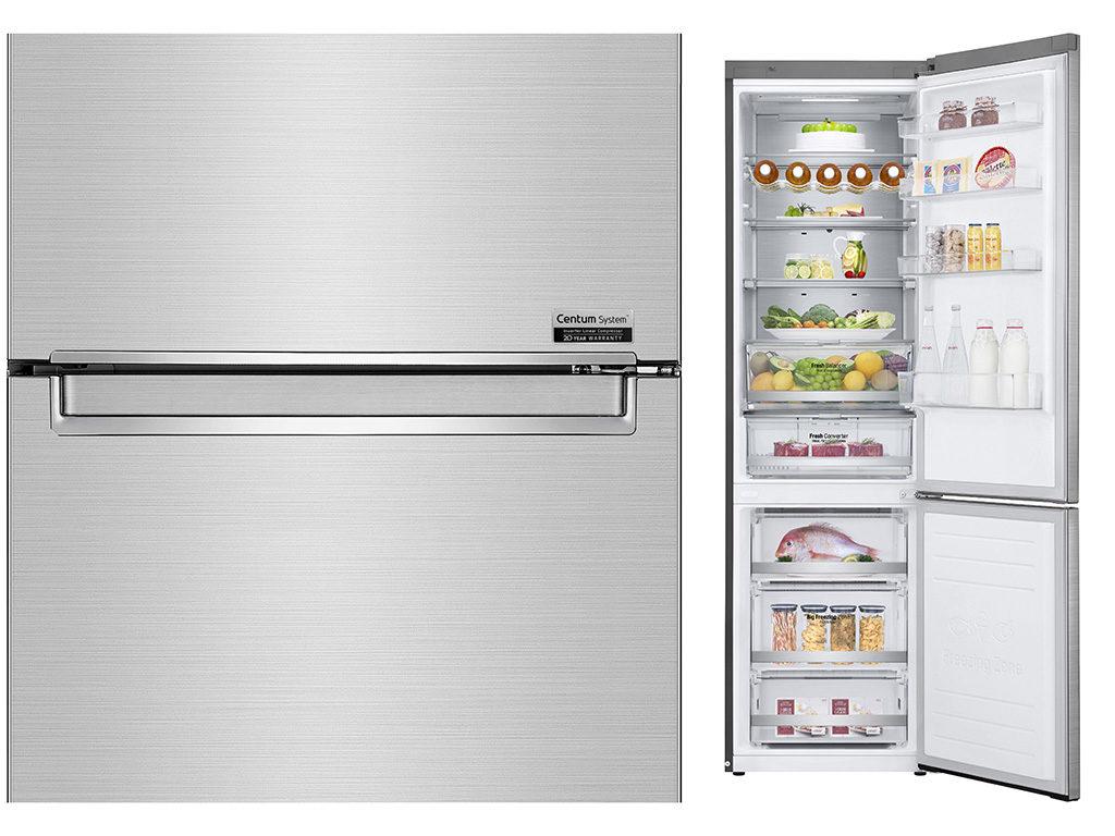 frigorifero aperto e dettaglio frontale