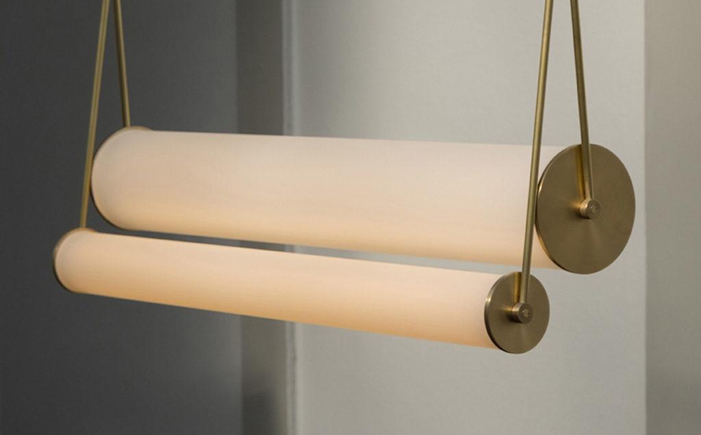 lampada sospesa ottone e vetro