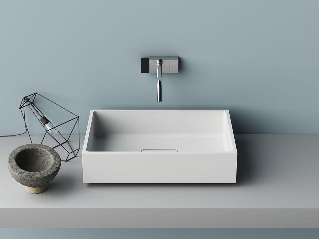 lavabo da appoggio corian bagno