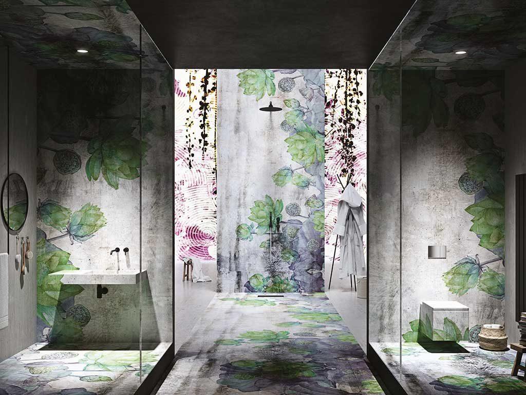 pavimento e rivestimento bagno floreale