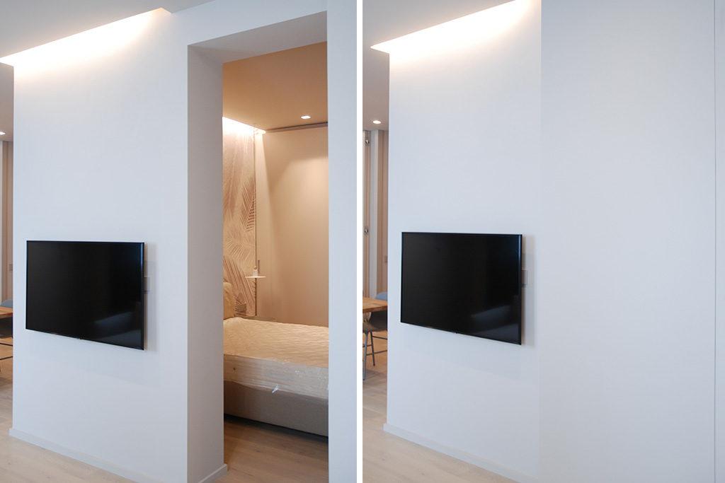 camera da letto dietro parete