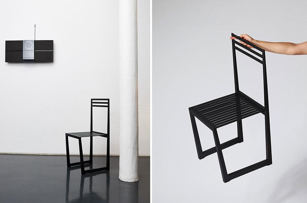 sedia nero legno