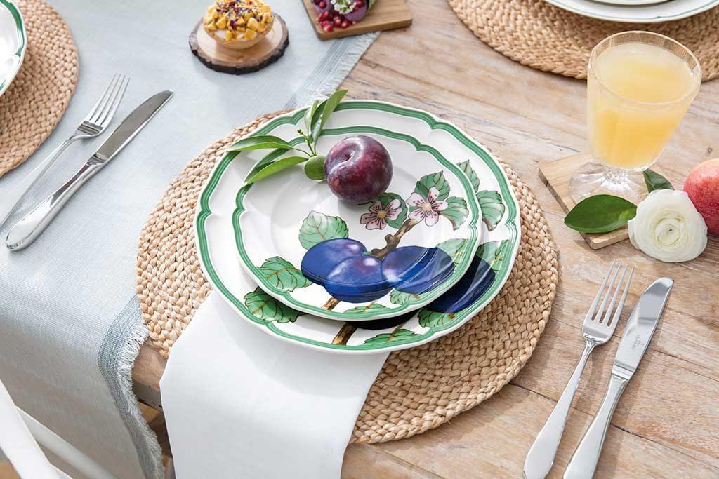 piatti bordo verde e prugna