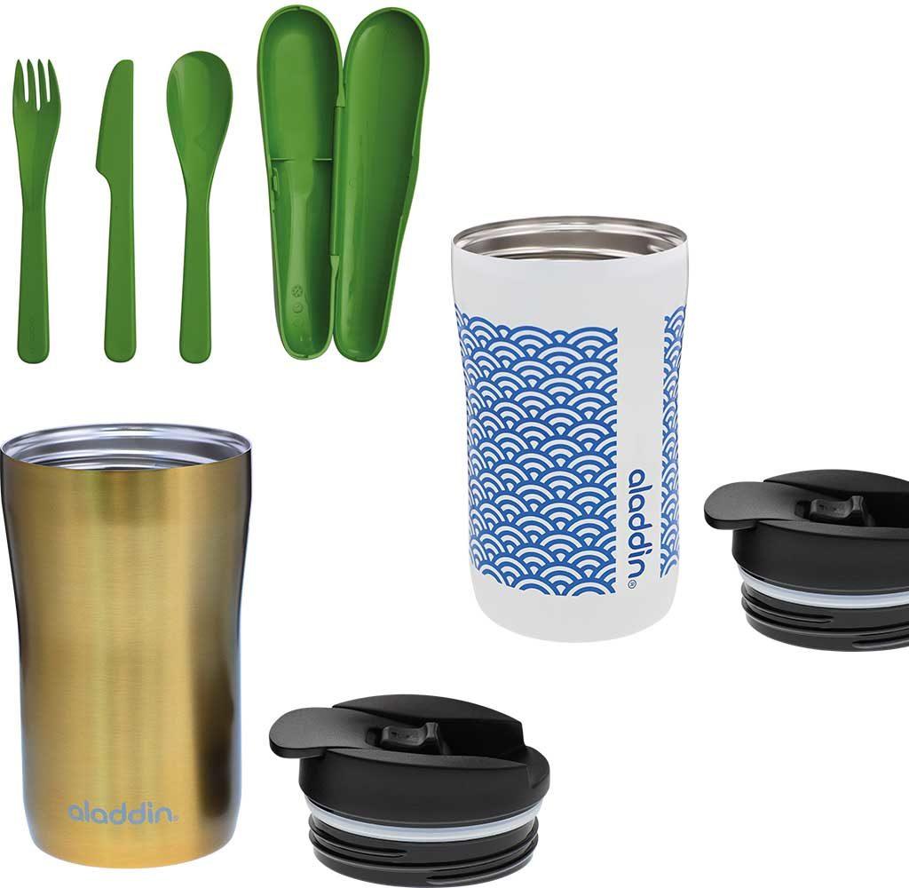 posate riciclate e bicchieri termici