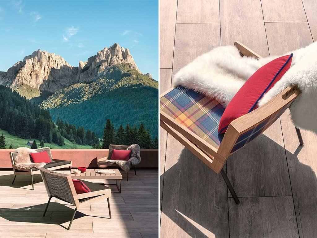 sedie esterno legno e cuscini