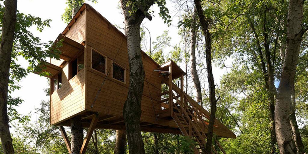 casa legno su alberi