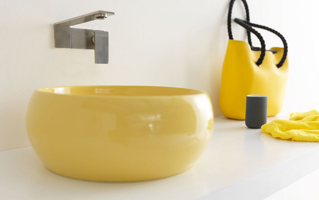 lavabo appoggio tondo giallo