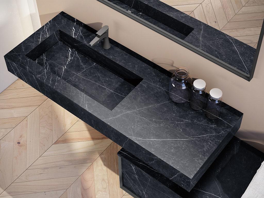 lavabo sospeso bagno marmo nero