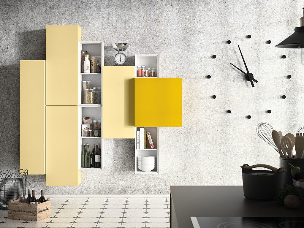 mobile giallo parete sospeso