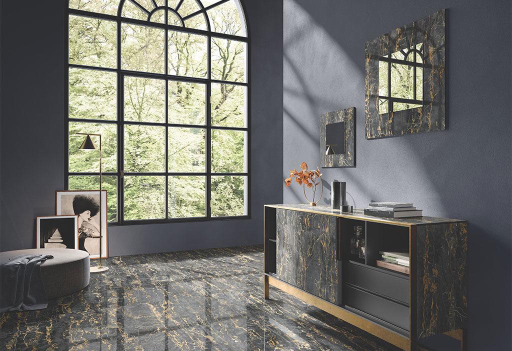 pavimento effetto marmo scuro