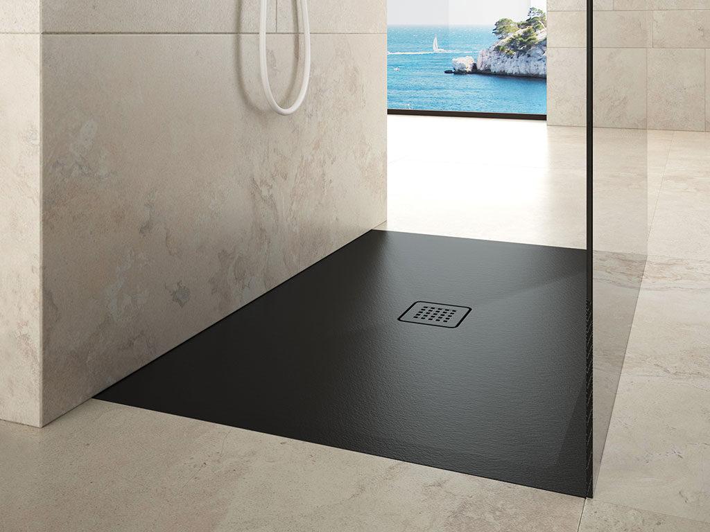 piatto doccia nero effetto pietra
