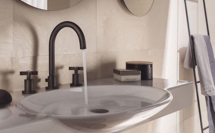 rubinetto lavabo bagno nero