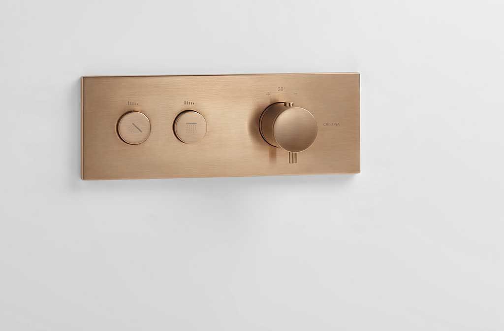 rubinetto termostatico oro rosa spazzolato