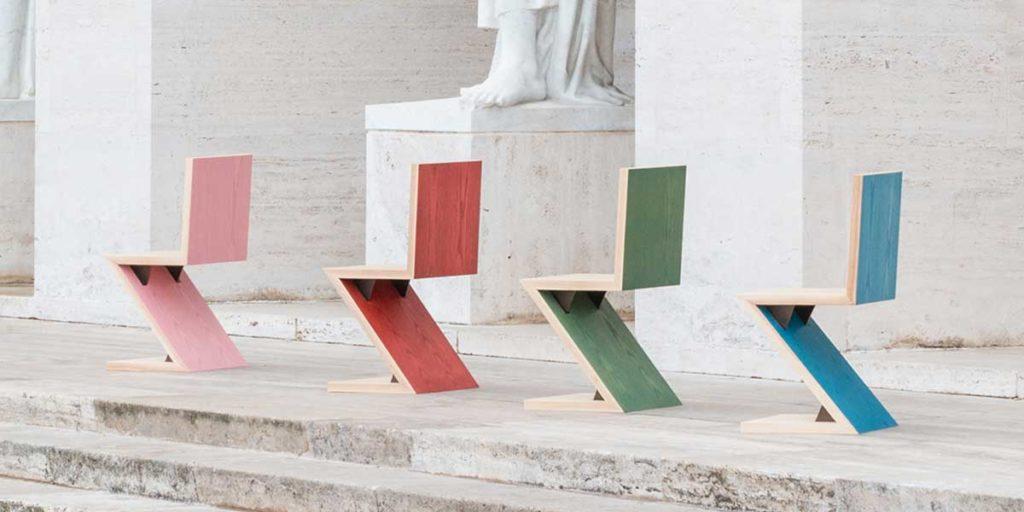 sedia legno colore zig zag