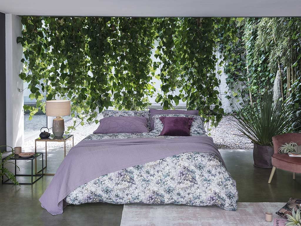 biancheria letto fiori viola
