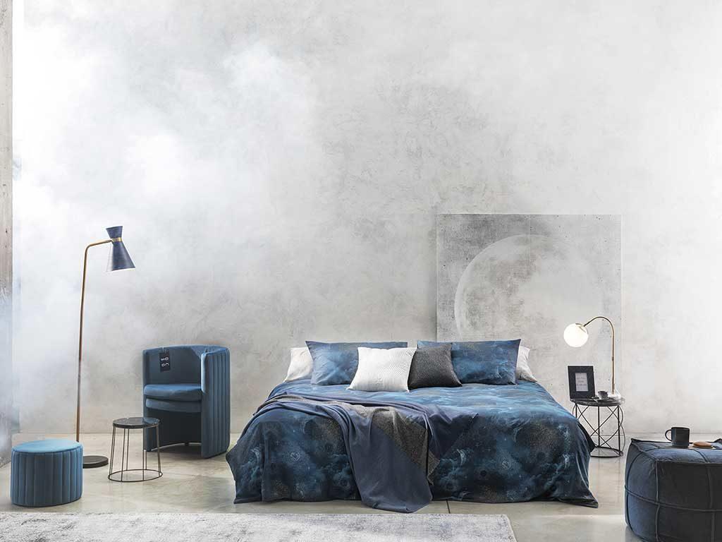 biancheria letto azzurro polvere