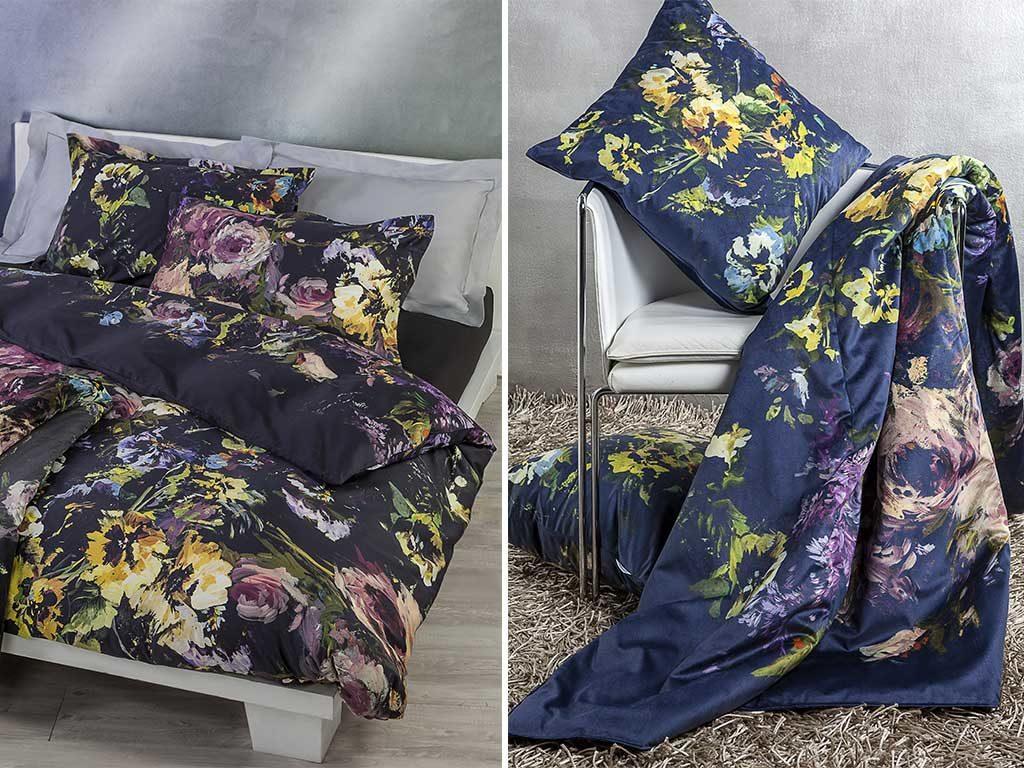 biancheria letto cuscino plaid fiori