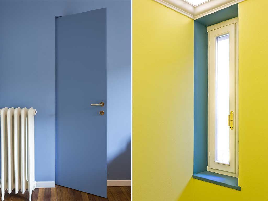 porta blu e finestra contorno verde