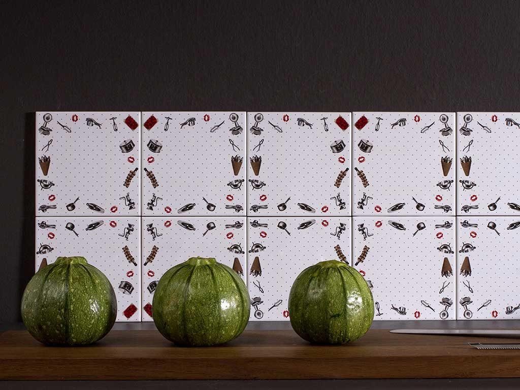 piastrelle gres disegni utensili cucina