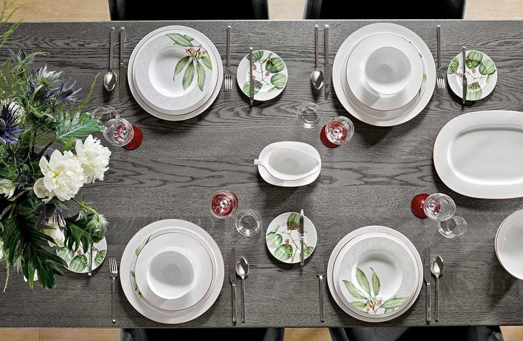 piatti bianchi decoro piante
