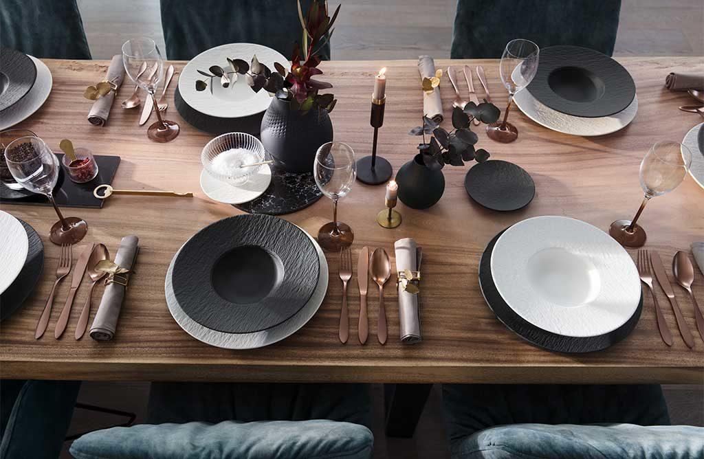 piatti bianco nero effetto pietra