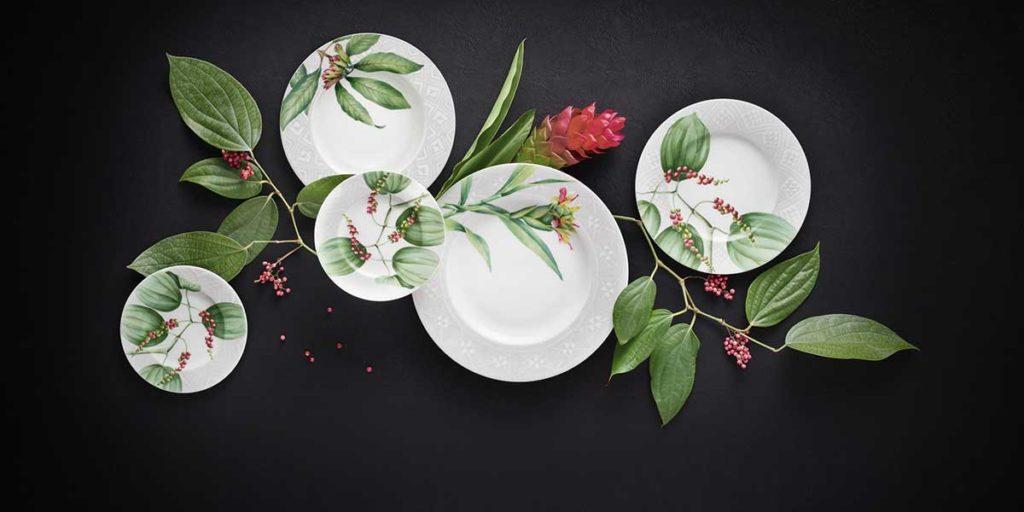 piatti decori foglie fiori