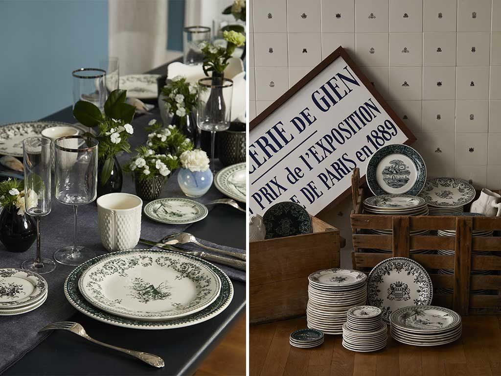 servizio piatti ceramica decoro blu