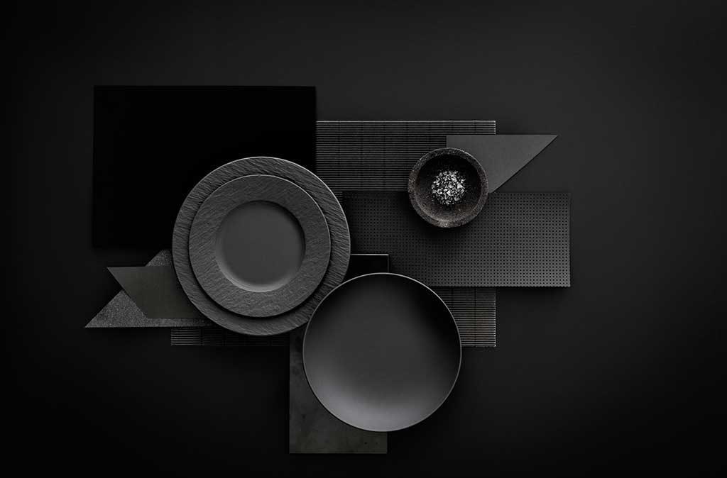 servizio piatti grigio