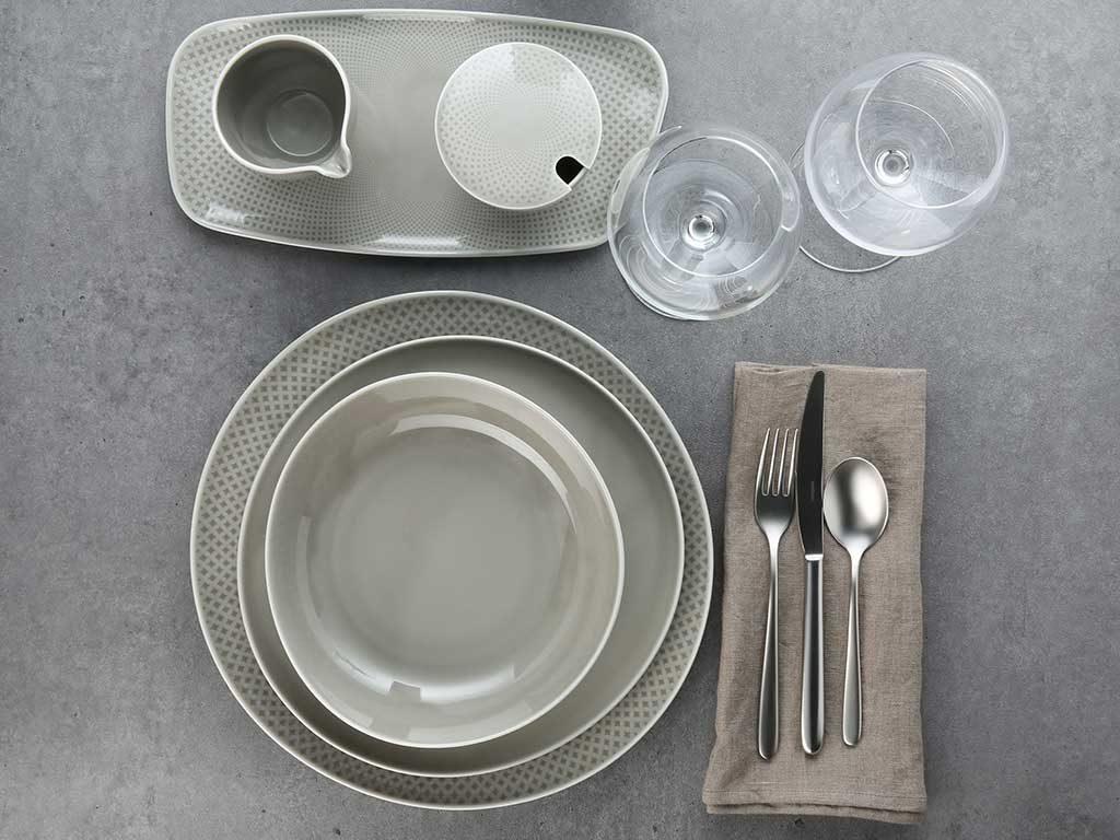 tableware decoro geometria grigio