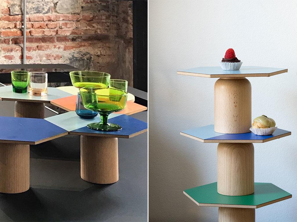 tavolini alzatine esagonali