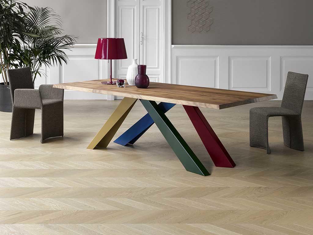 tavolo legno gambe colorate