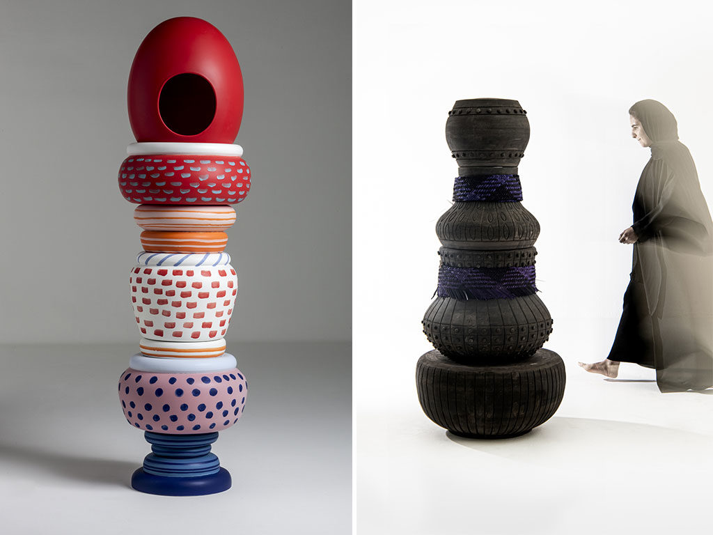totem ceramica colorata