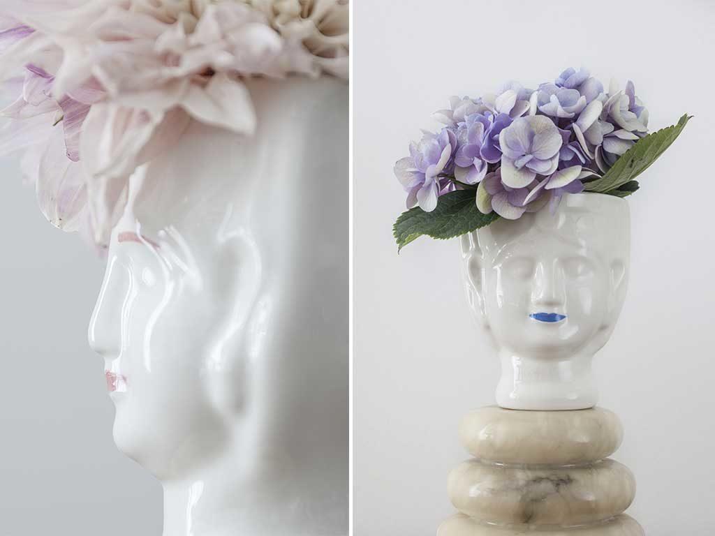 vaso testa femminile artigianato
