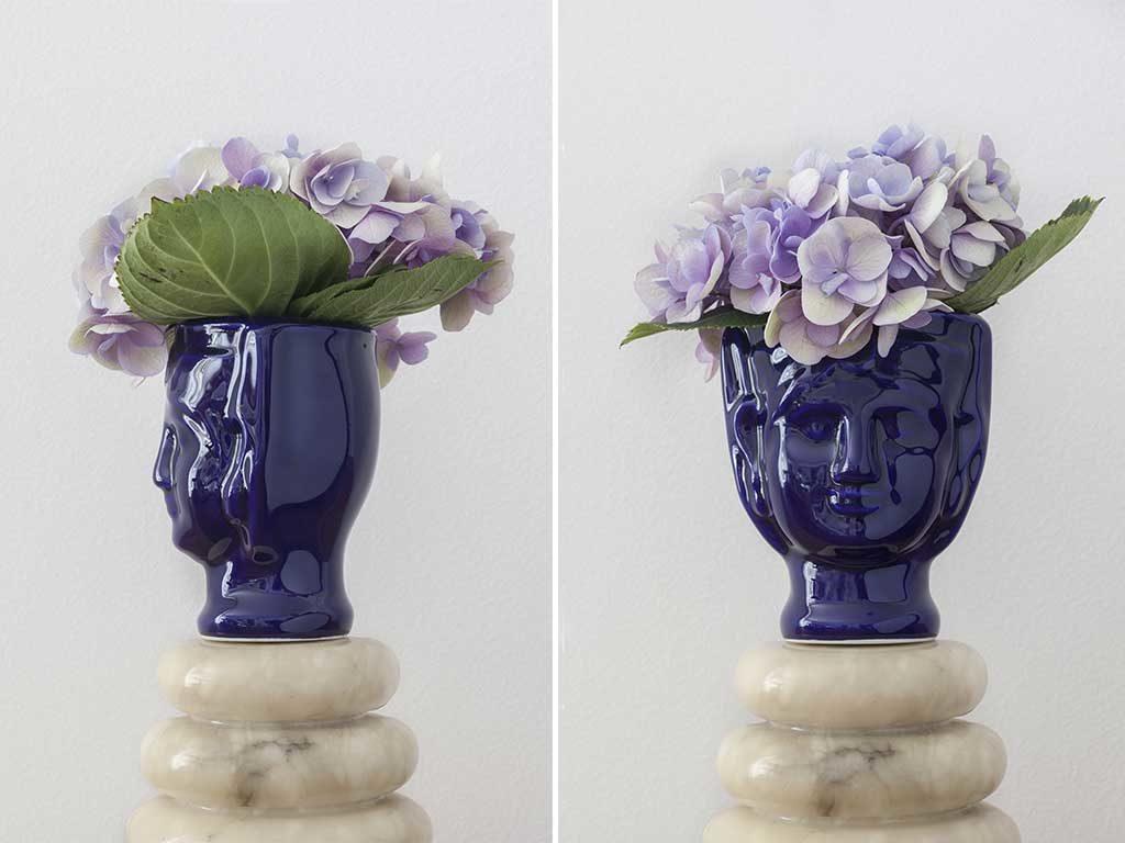 vaso testa femminile ceramica blu