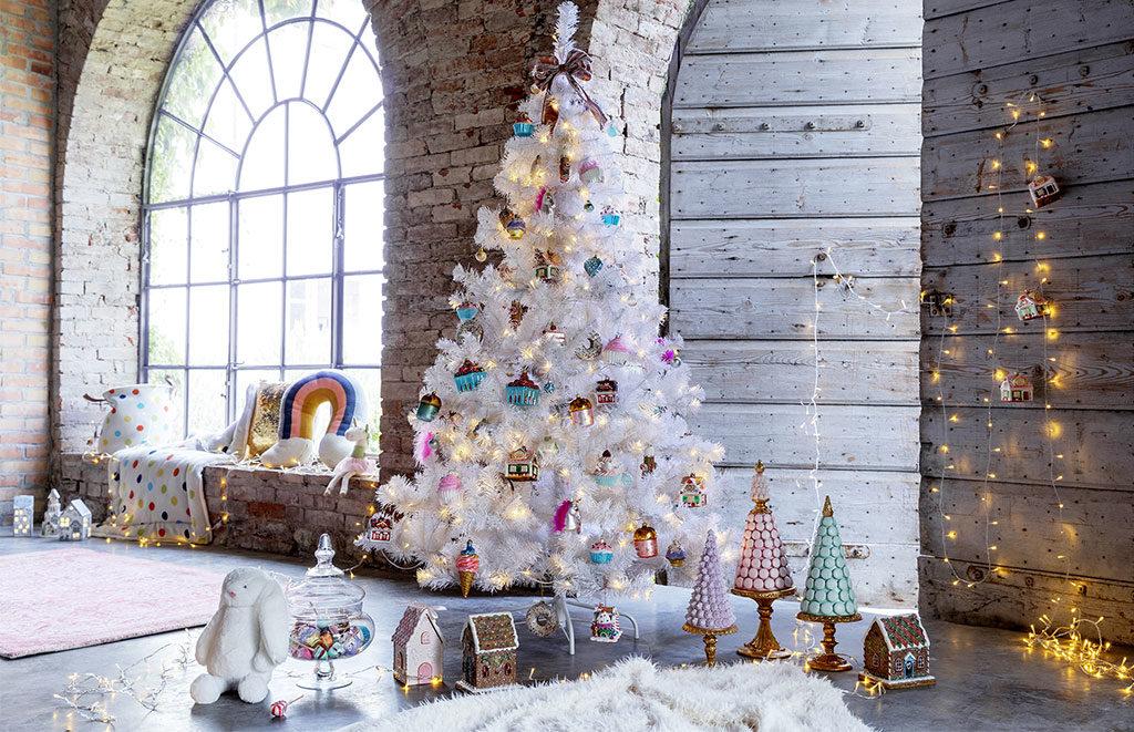 albero natale bianco neve