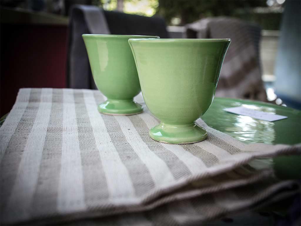 bicchieri verde ceramica