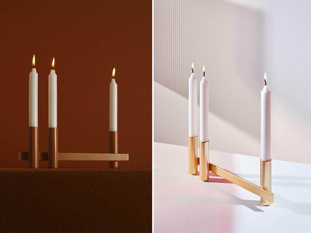 candelabro lineare tre posti