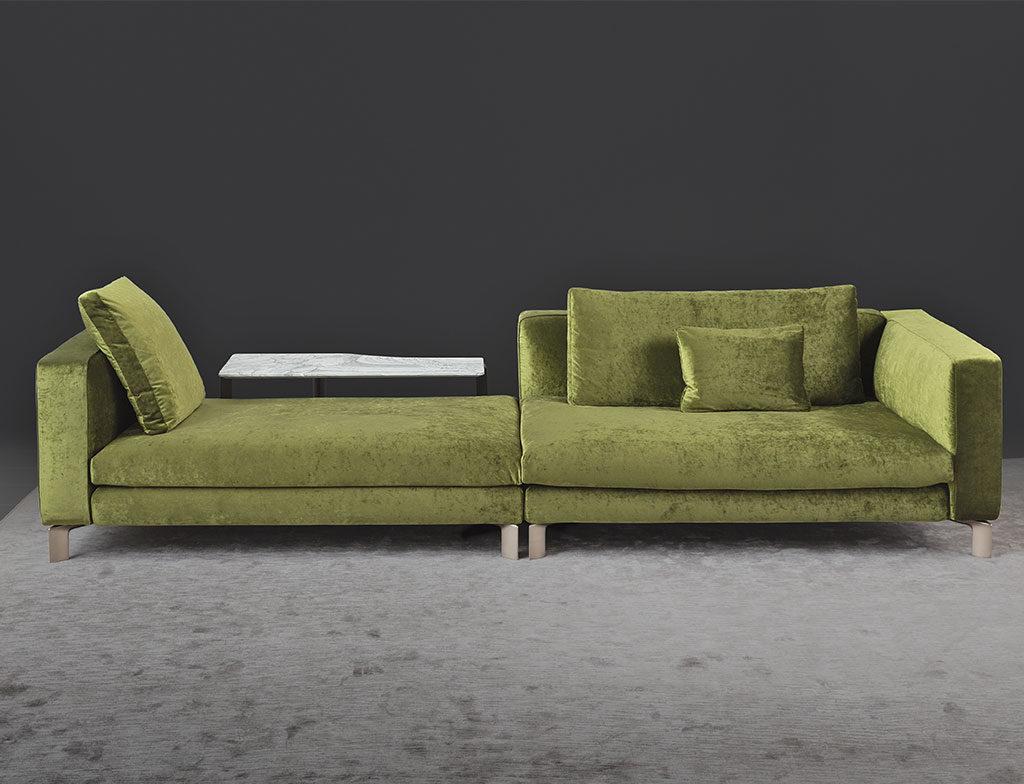 chaise longue velluto verde